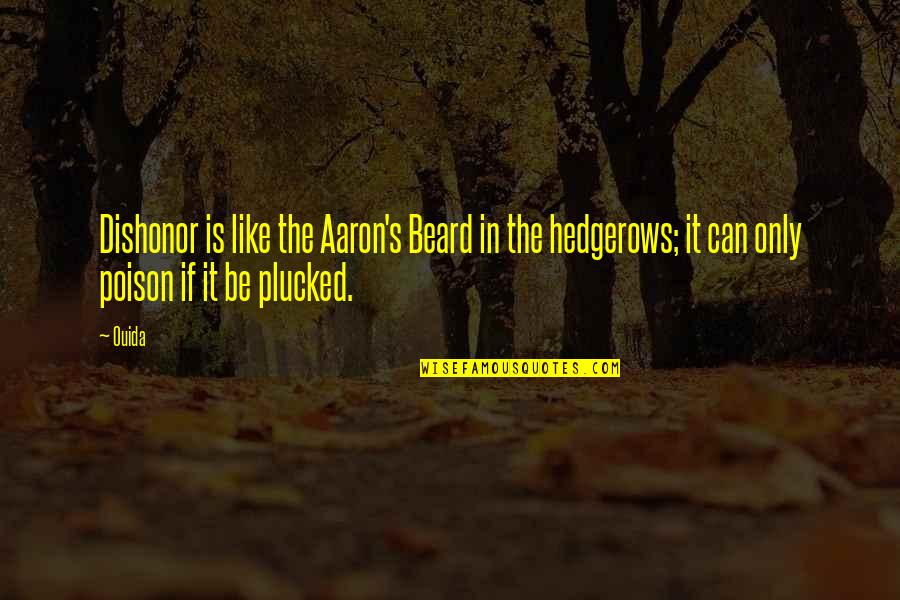 Ouida Quotes By Ouida: Dishonor is like the Aaron's Beard in the