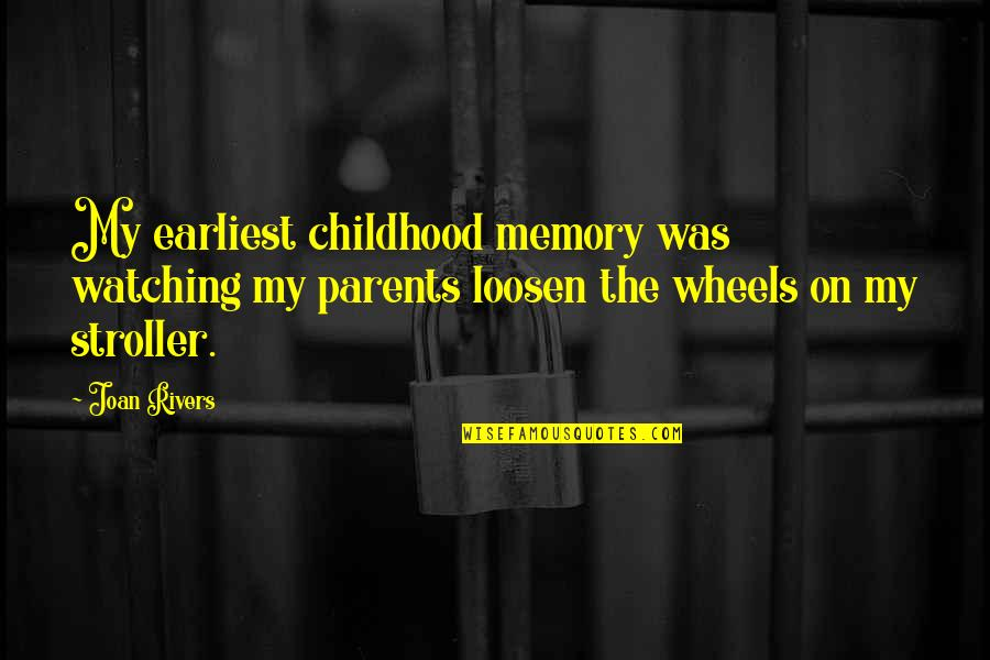 Our Childhood Memories Quotes By Joan Rivers: My earliest childhood memory was watching my parents