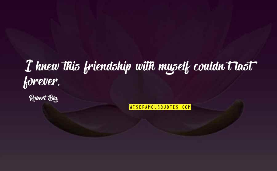 Our Friendship Last Forever Quotes By Robert Bly: I knew this friendship with myself couldn't last
