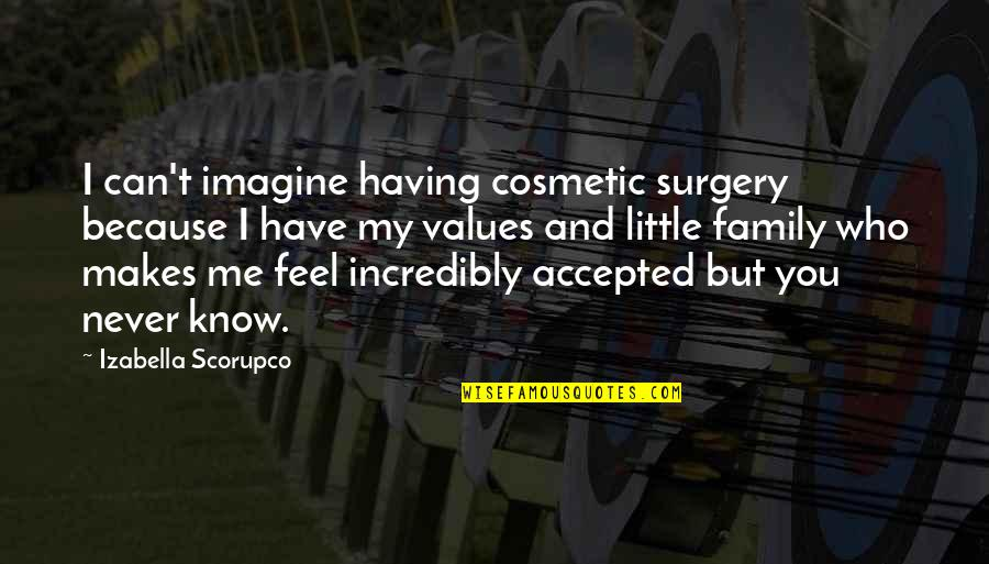 Our Little Family Quotes By Izabella Scorupco: I can't imagine having cosmetic surgery because I