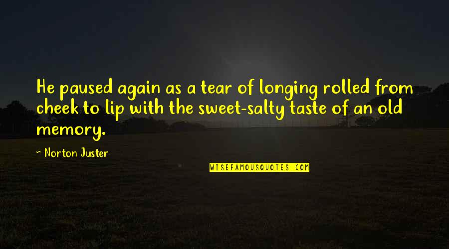 Our Sweet Memory Quotes By Norton Juster: He paused again as a tear of longing