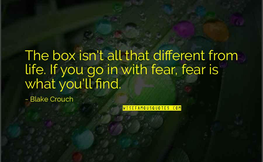 Outlook In Life Quotes By Blake Crouch: The box isn't all that different from life.