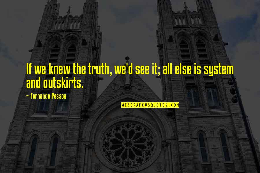 Outskirts Quotes By Fernando Pessoa: If we knew the truth, we'd see it;