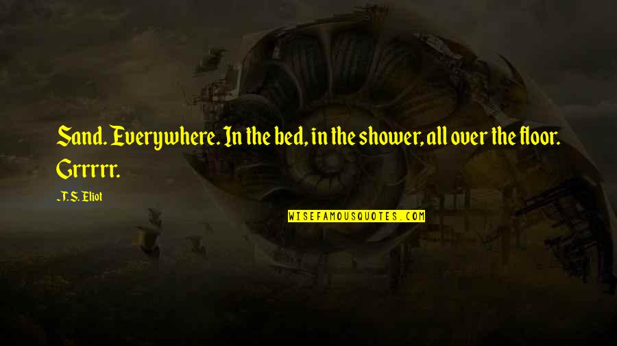 Over Bed Quotes By T. S. Eliot: Sand. Everywhere. In the bed, in the shower,