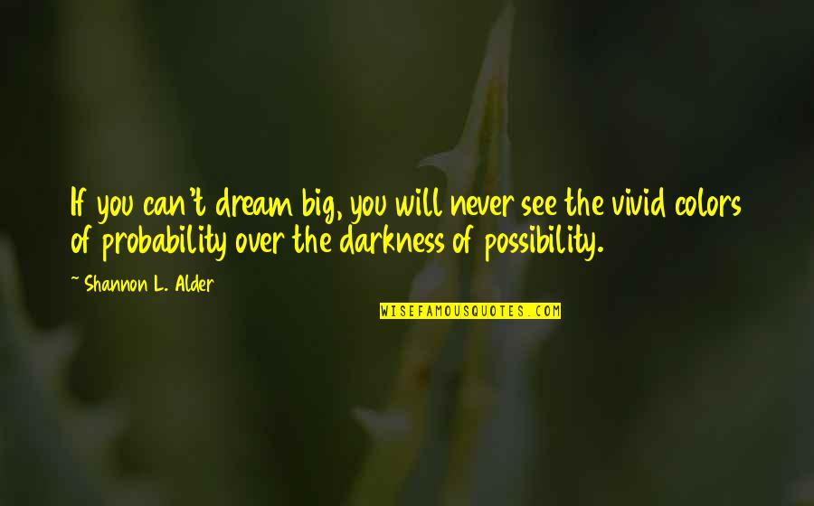 Over Confidence Attitude Quotes By Shannon L. Alder: If you can't dream big, you will never