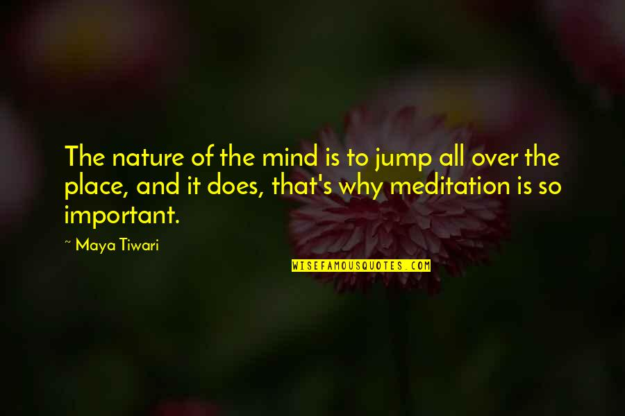 Over It Quotes By Maya Tiwari: The nature of the mind is to jump