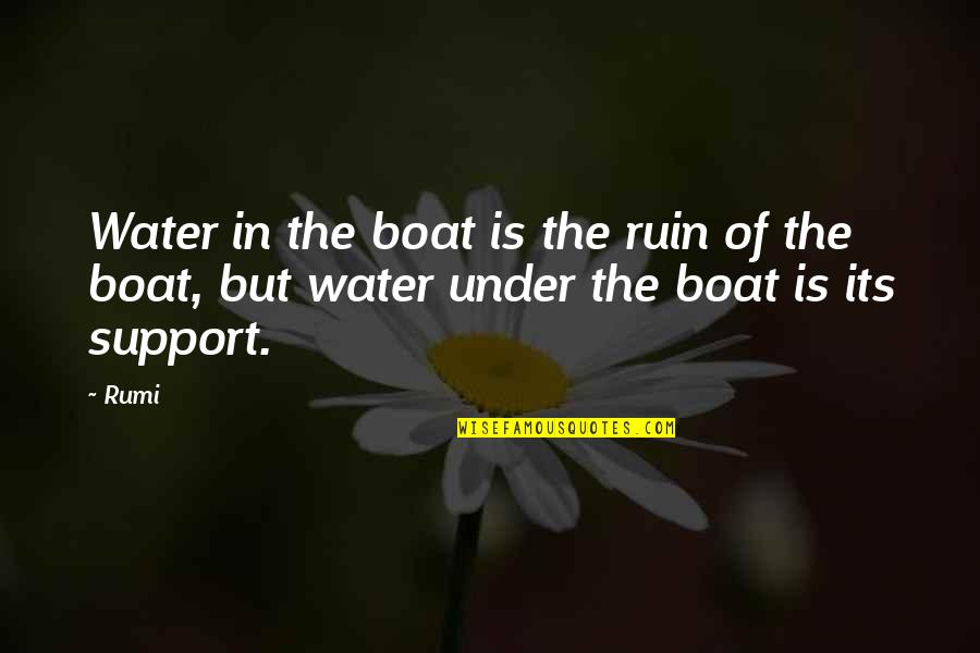 Over The Hedge Gladys Quotes By Rumi: Water in the boat is the ruin of