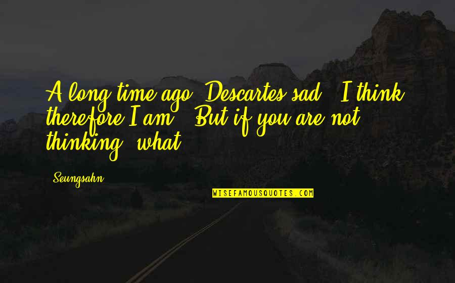 "Over Thinking Sad Quotes By Seungsahn: A long time ago, Descartes sad, ""I think,"