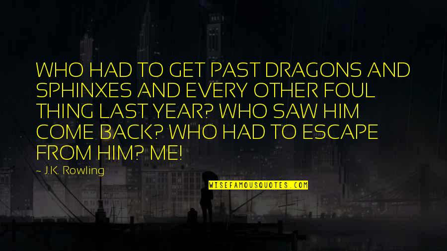 Over Your Past Quotes By J.K. Rowling: WHO HAD TO GET PAST DRAGONS AND SPHINXES