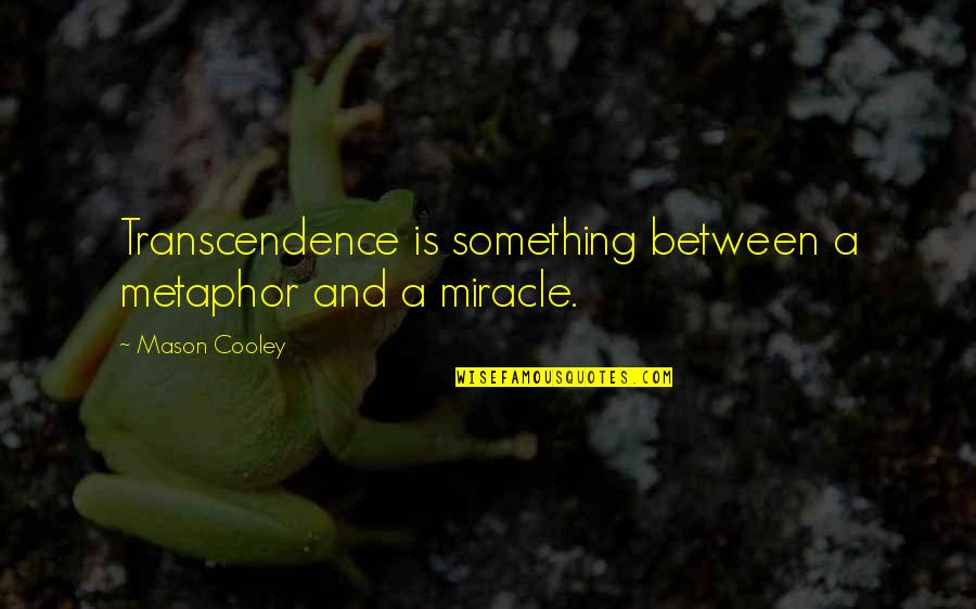 Overcast Days Quotes By Mason Cooley: Transcendence is something between a metaphor and a