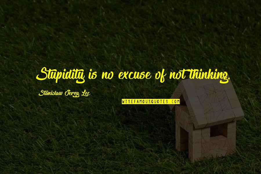 Overcoming Hard Things Quotes By Stanislaw Jerzy Lec: Stupidity is no excuse of not thinking.