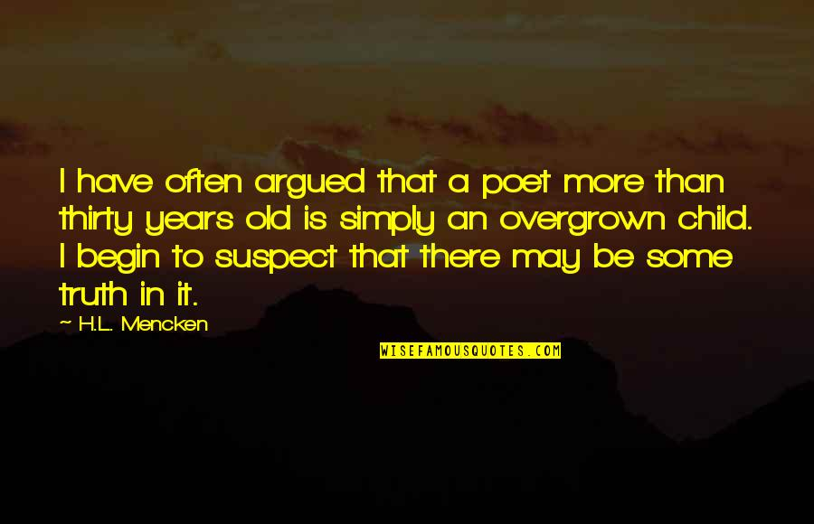 Overgrown Quotes By H.L. Mencken: I have often argued that a poet more