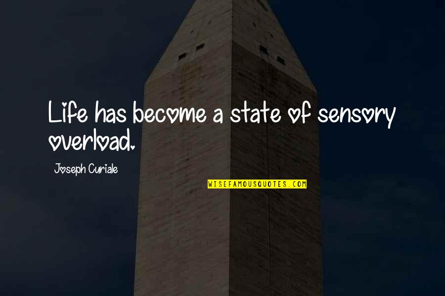 Overload Quotes By Joseph Curiale: Life has become a state of sensory overload.