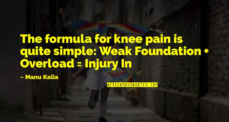 Overload Quotes By Manu Kalia: The formula for knee pain is quite simple: