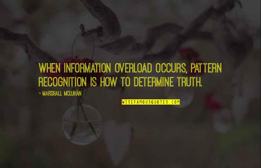 Overload Quotes By Marshall McLuhan: When information overload occurs, pattern recognition is how