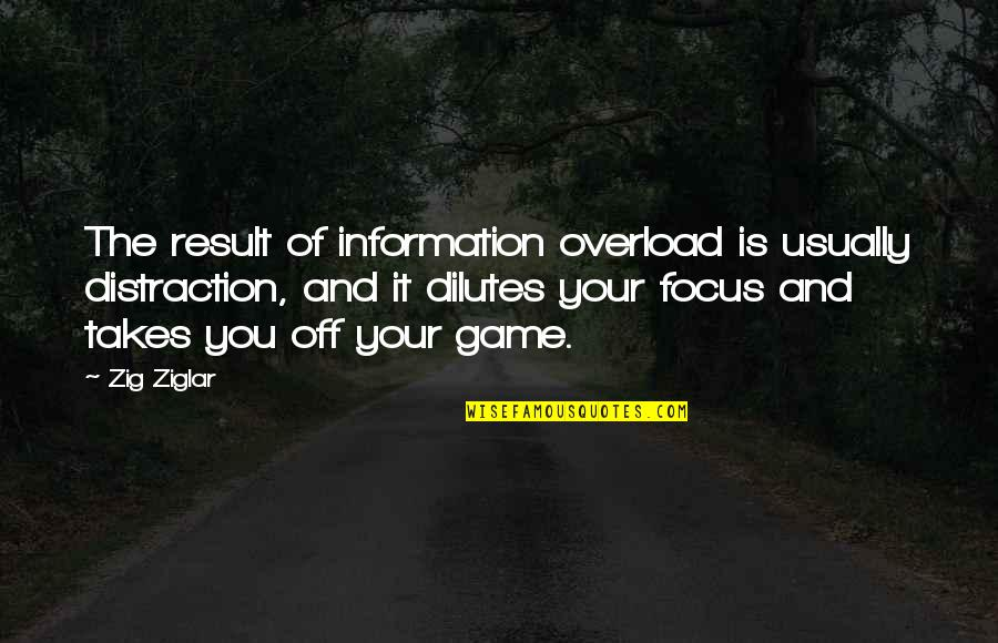 Overload Quotes By Zig Ziglar: The result of information overload is usually distraction,