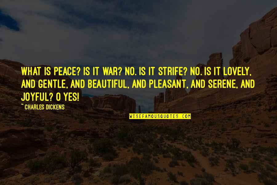 O'war Quotes By Charles Dickens: What is peace? Is it war? No. Is