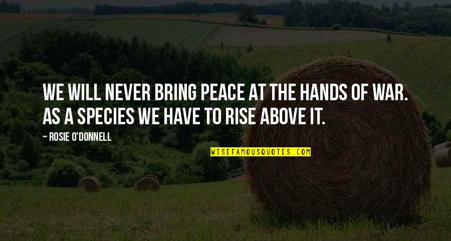 O'war Quotes By Rosie O'Donnell: We will never bring peace at the hands