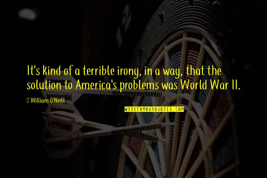 O'war Quotes By William O'Neill: It's kind of a terrible irony, in a