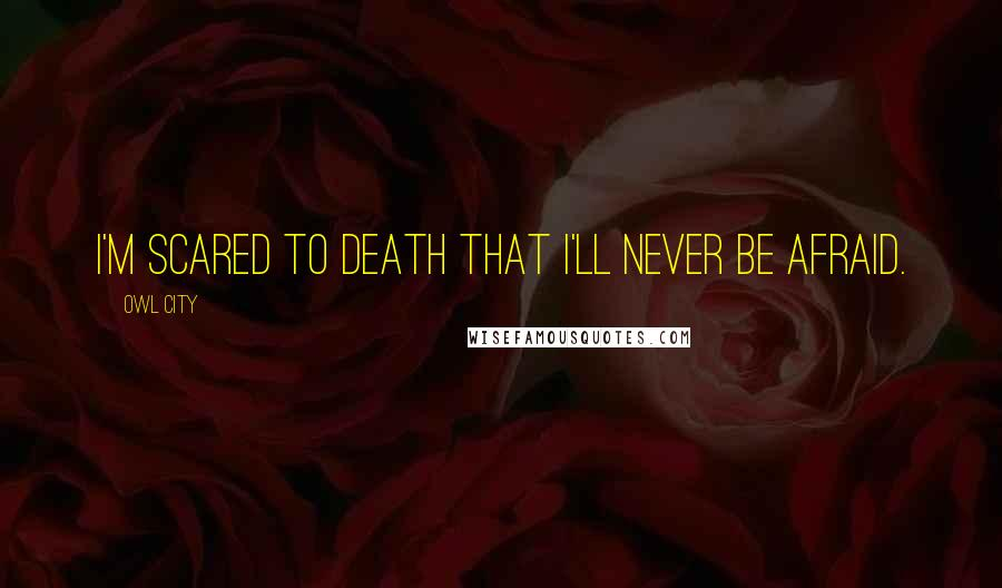 Owl City quotes: I'm scared to death that I'll never be afraid.