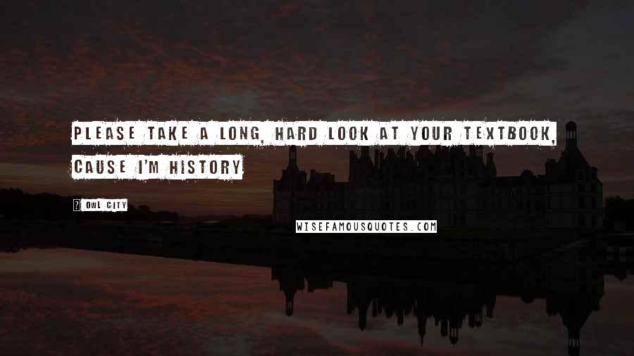 Owl City quotes: Please take a long, hard look at your textbook, cause I'm history