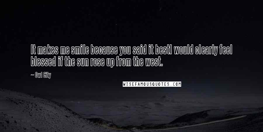 Owl City quotes: It makes me smile because you said it bestI would clearly feel blessed if the sun rose up from the west.
