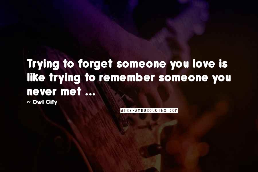 Owl City quotes: Trying to forget someone you love is like trying to remember someone you never met ...