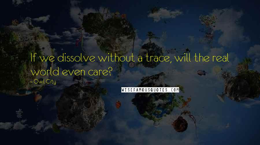 Owl City quotes: If we dissolve without a trace, will the real world even care?