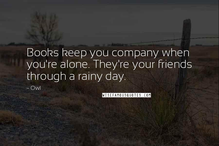 Owl quotes: Books keep you company when you're alone. They're your friends through a rainy day.