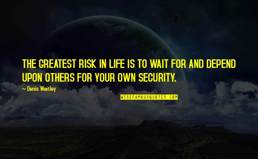 Own Life Quotes By Denis Waitley: THE GREATEST RISK IN LIFE IS TO WAIT