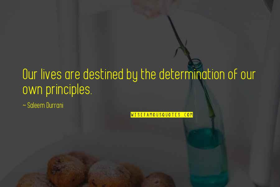 Own Life Quotes By Saleem Durrani: Our lives are destined by the determination of