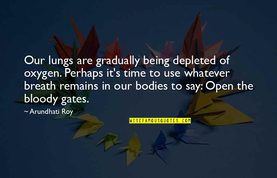 Oxygen's Quotes By Arundhati Roy: Our lungs are gradually being depleted of oxygen.