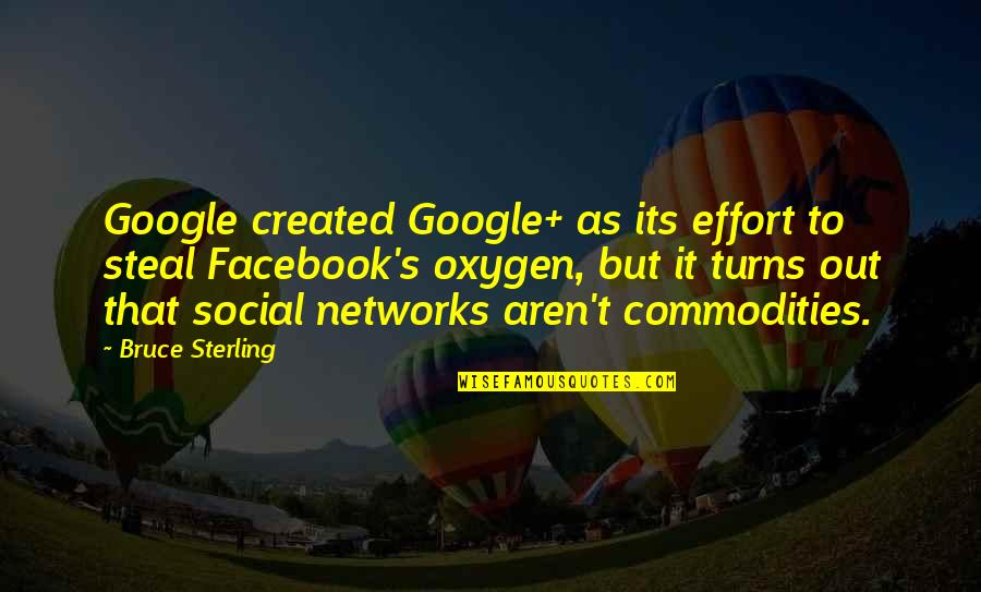 Oxygen's Quotes By Bruce Sterling: Google created Google+ as its effort to steal