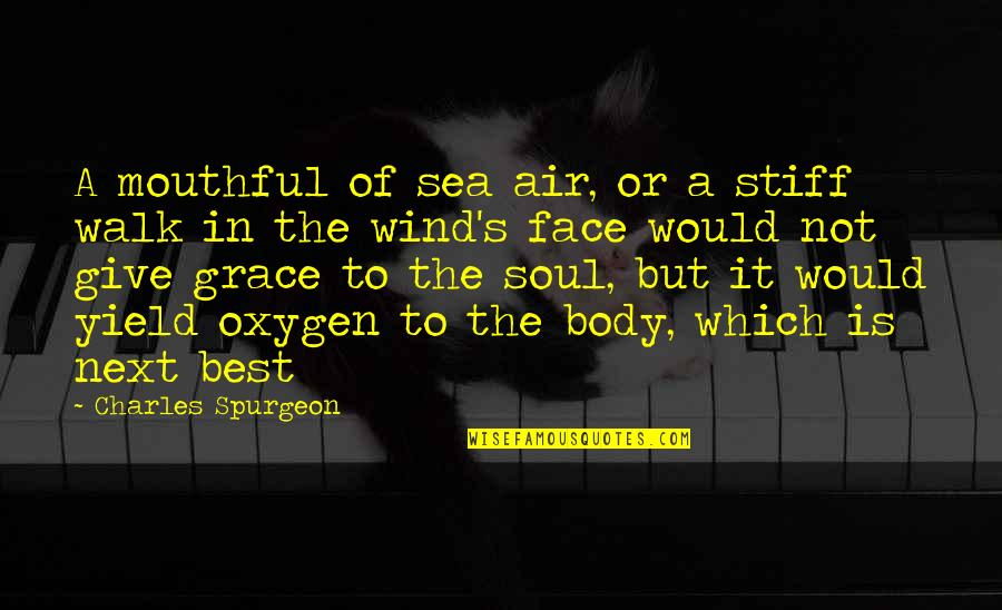 Oxygen's Quotes By Charles Spurgeon: A mouthful of sea air, or a stiff
