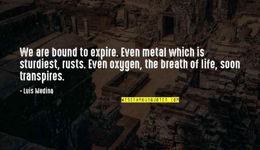 Oxygen's Quotes By Luis Medina: We are bound to expire. Even metal which