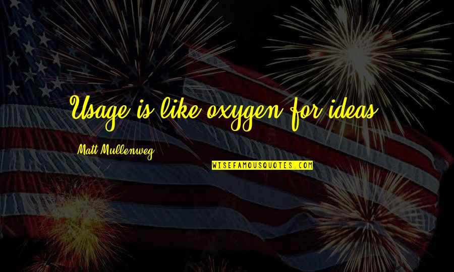 Oxygen's Quotes By Matt Mullenweg: Usage is like oxygen for ideas.