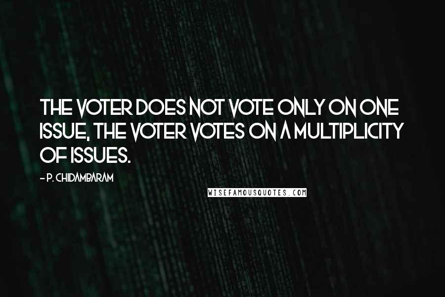 P. Chidambaram quotes: The voter does not vote only on one issue, the voter votes on a multiplicity of issues.