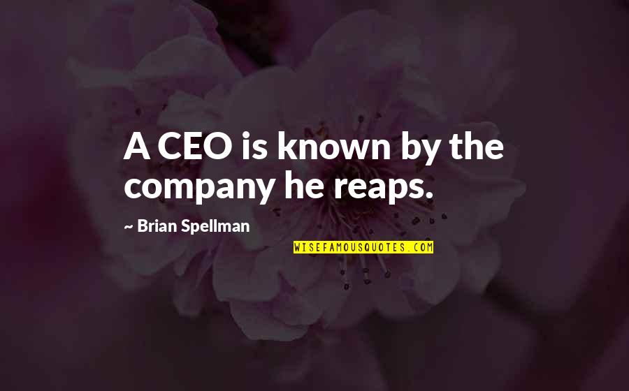 P&g Ceo Quotes By Brian Spellman: A CEO is known by the company he