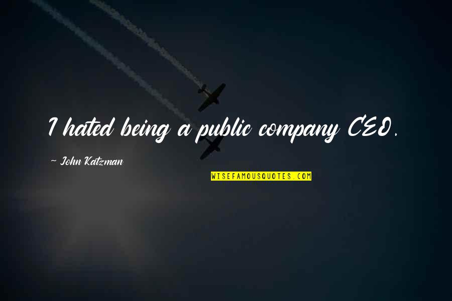 P&g Ceo Quotes By John Katzman: I hated being a public company CEO.