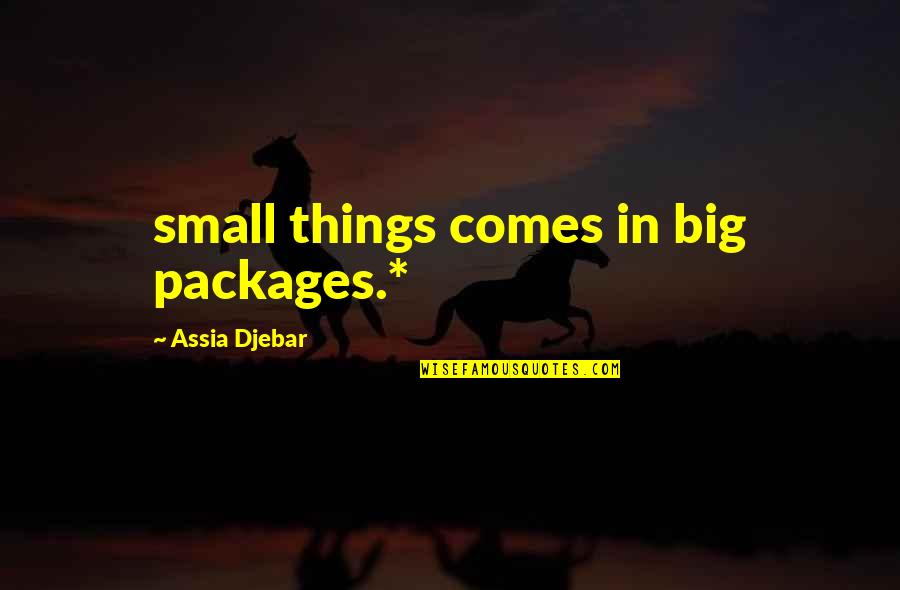 Packages Quotes By Assia Djebar: small things comes in big packages.*
