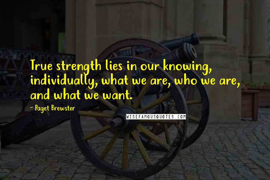 Paget Brewster quotes: True strength lies in our knowing, individually, what we are, who we are, and what we want.