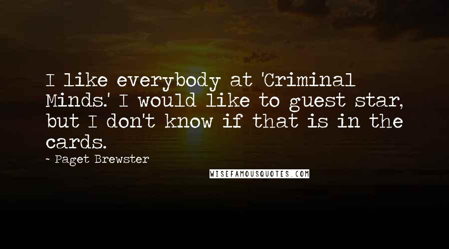 Paget Brewster quotes: I like everybody at 'Criminal Minds.' I would like to guest star, but I don't know if that is in the cards.