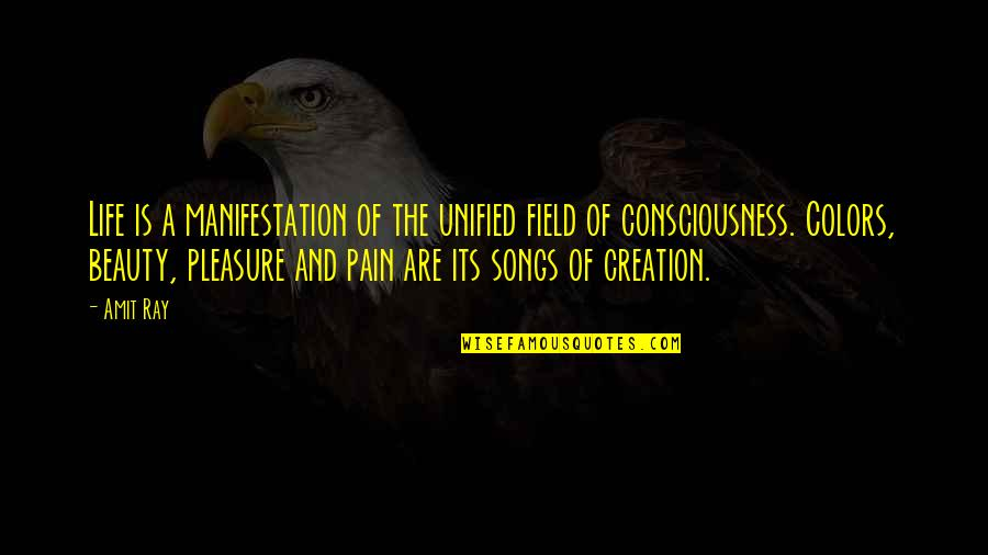 Pain And Beauty Quotes By Amit Ray: Life is a manifestation of the unified field