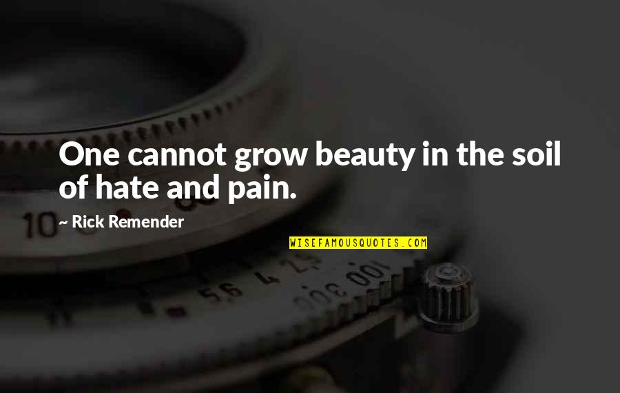 Pain And Beauty Quotes By Rick Remender: One cannot grow beauty in the soil of