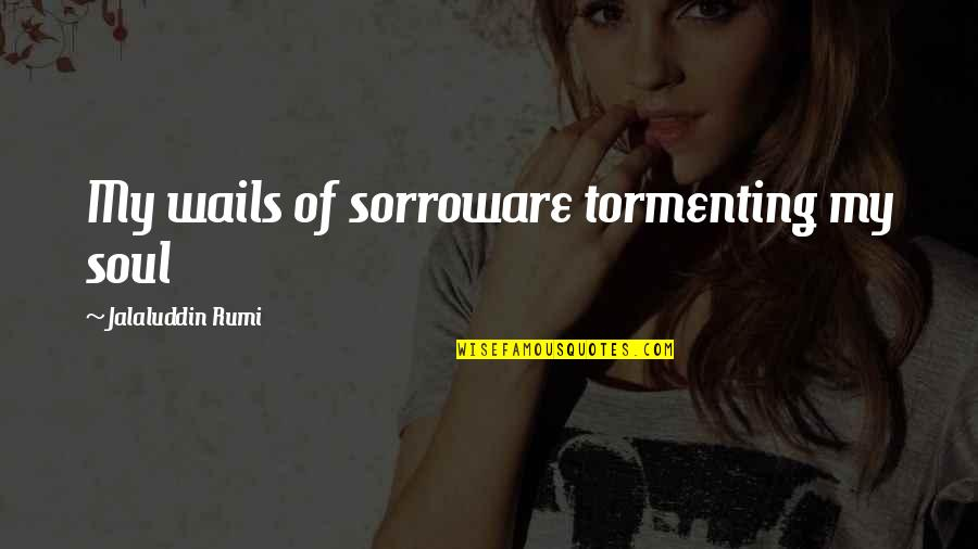 Pain In Your Heart Quotes By Jalaluddin Rumi: My wails of sorroware tormenting my soul
