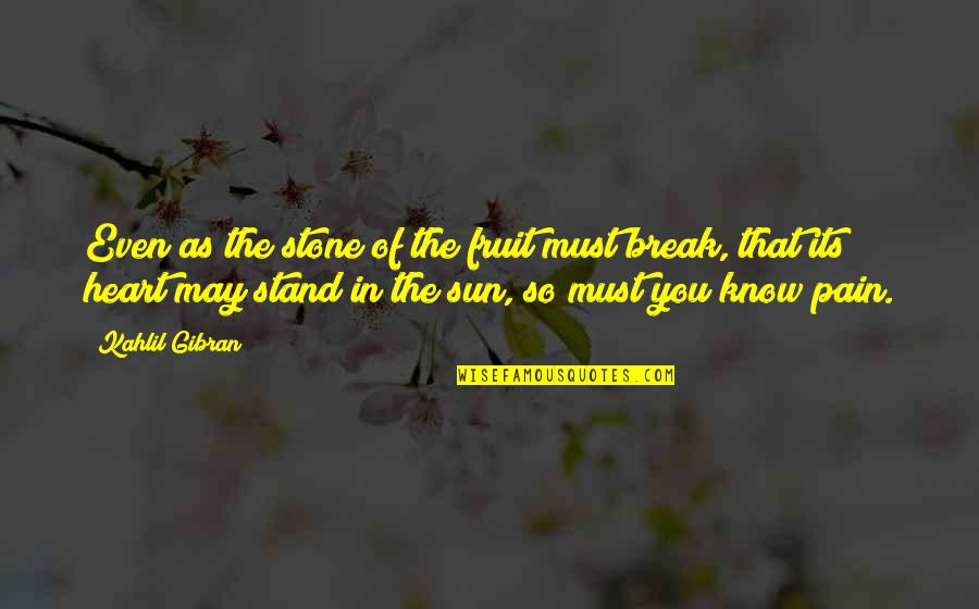 Pain In Your Heart Quotes By Kahlil Gibran: Even as the stone of the fruit must