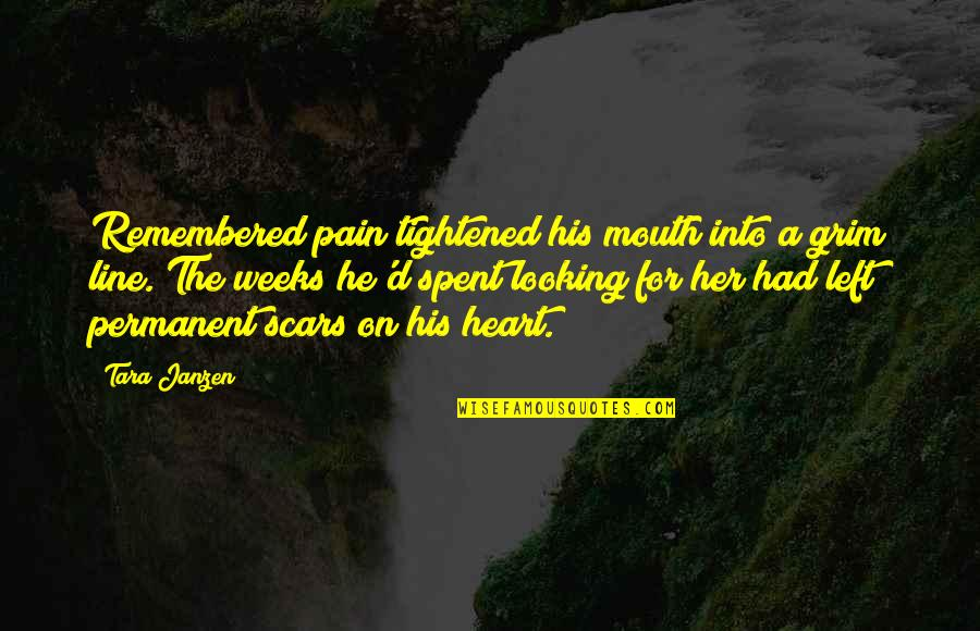 Pain In Your Heart Quotes By Tara Janzen: Remembered pain tightened his mouth into a grim