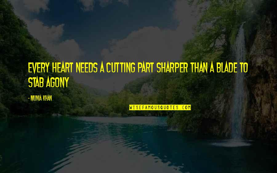 Painful Quotes And Quotes By Munia Khan: Every heart needs a cutting part sharper than