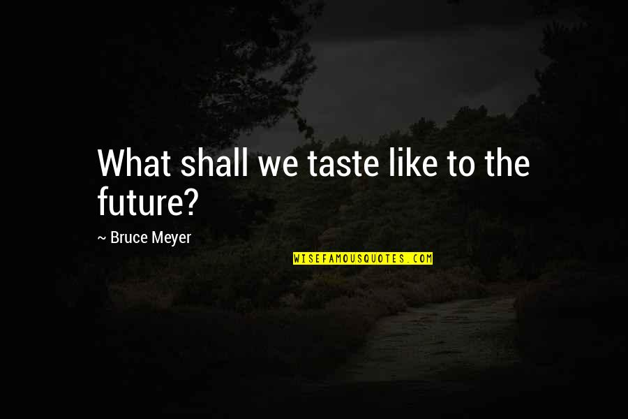 Painfully Shy Quotes By Bruce Meyer: What shall we taste like to the future?