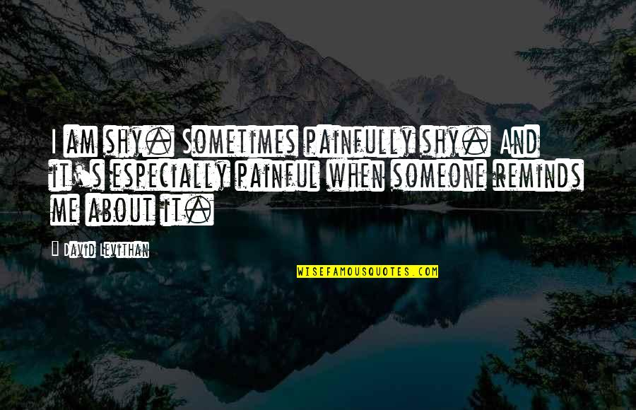 Painfully Shy Quotes By David Levithan: I am shy. Sometimes painfully shy. And it's